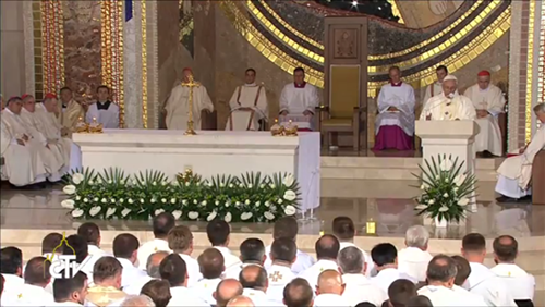 Messe en l'église Saint-Jean-Paul II de Lagiewniki-Cracovie, 30 juillet 2016, capture CTV